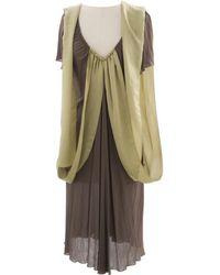 Bottega Veneta - Khaki Viscose Dress - Lyst