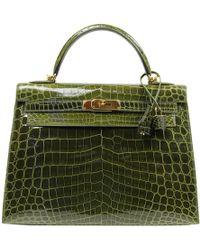 c859163771c1 Hermès Kelly 32 Crocodile Handbag in Blue - Lyst