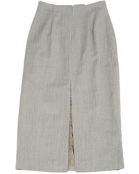 92188b3467 Michael Kors Houndstooth Shetland Wool-blend Scissor Skirt in Gray ...