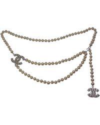 Chanel - Pre-owned Ecru Pearls Belts - Lyst