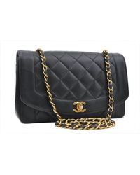 6ca9b9ec8bbb5d On sale Chanel - Pre-owned Vintage Diana Black Leather Handbags - Lyst