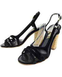 8efbe8c46 Black Cloth Sandals.  267. Vestiaire Collective · Chanel - Velvet Sandals -  Lyst
