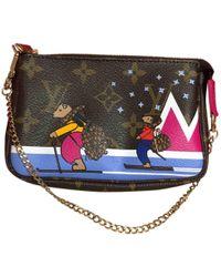 Louis Vuitton - Pre-owned Pochette Accessoire Brown Linen Clutch Bags - Lyst