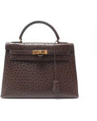 59ea2561fa1b Hermès - Vintage Kelly 32 Brown Ostrich Handbag - Lyst