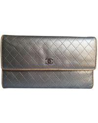 4f7145c92898 Prada Silver Saffiano Trifold Wallet in Metallic - Lyst