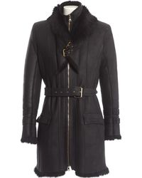 Balmain - Black Leather Coat - Lyst