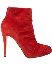 Brian Atwood - Pre-owned Red Suede Ankle Boots - Lyst