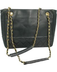 5d3b4146689d Chanel - Pre-owned Vintage Petite Shopping Tote Green Leather Handbags -  Lyst
