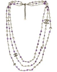 Chanel - Pre-owned Purple Steel Long Necklaces - Lyst