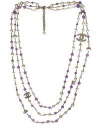 Chanel - Purple Steel Long Necklace - Lyst
