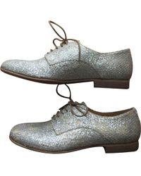 Maison Margiela - Silver Leather Lace Ups - Lyst
