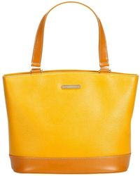 ad80949b2639 Lyst - Burberry Large Remington Logo Leather Tote in Yellow