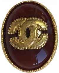 Chanel - Broche Ovale En Metal Dore Et Pierre Semi-precieuse De Couleur  Ambre - 37a4cfb33c0