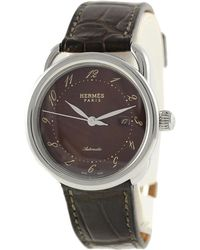 Hermès - Pre-owned Arceau Brown Steel Watches - Lyst