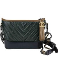 Chanel Pre-owned Gabrielle Leather Crossbody Bag in Green - Lyst 3bb40e062e6a5