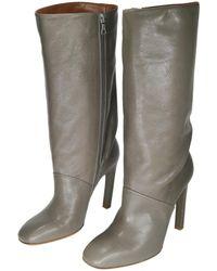 35ef44a9bfb0 Dries Van Noten Leather 100mm Block-heel Bootie in White - Lyst