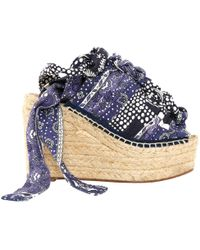 Chloé - Pre-owned Blue Cloth Sandals - Lyst