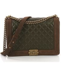 8530d3eaea3d Lyst - Chanel Pre-owned Boy Leather Handbag in Green