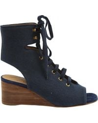 Chloé - Pre-owned Navy Cloth Sandals - Lyst