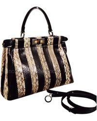 687e9a3c119c Lyst - Fendi Peekaboo Mini Tricolor Satchel Bag in Black