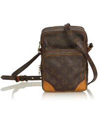 Louis Vuitton - Pre-owned Vintage Brown Cloth Handbag - Lyst