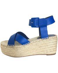 befed9cfc02 Céline Céline Suede Platform Espadrille Sandal in Blue - Lyst