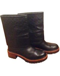 Louis Vuitton - Pre-owned Leather Biker Boots - Lyst