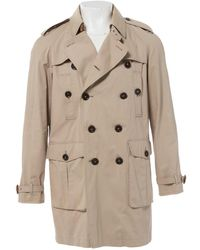 Burberry - Beige Cotton Coat - Lyst