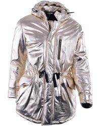 Moschino - Gold Leather Coat - Lyst