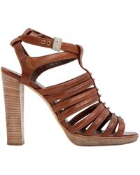 08d05182f53 Hermès Dark Brown Leather Double T Strap Heeled Sandals in Brown - Lyst