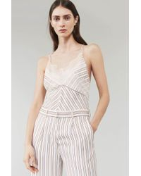 Victoria Beckham - Chantilly Lace Cami Top In Pajama Stripe - Lyst