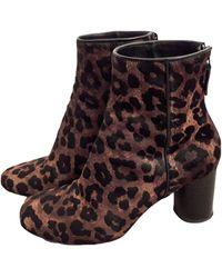 Sandro Bottines & low boots à talons cuir animalier - Marron