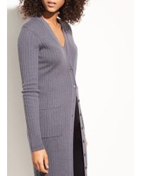 Vince - Mix Ribbed Cashmere Long Button Cardigan - Lyst