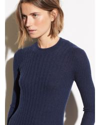 Vince - Mixed Rib Cashmere Long Sleeve - Lyst