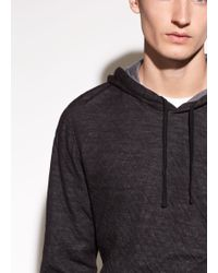 Vince - Contrast Layered Cotton And Wool Hoodie - Lyst
