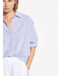 Vince Oversized Space Dye Stripe Shirt - Blue