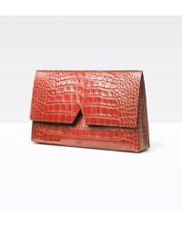 Vince - Signature Collection Stamped Croc Medium Clutch - Lyst