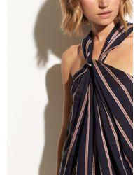 Vince - Textured Stripe Twist Front Halter Dress - Lyst