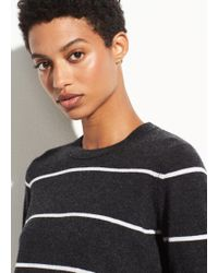Vince - Striped Overlay Cashmere Crew - Lyst
