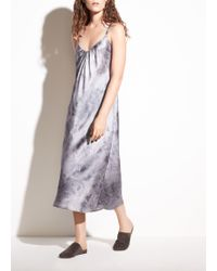 Vince - Watercolor Marble Shirred Silk-satin Cami Dress - Lyst