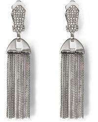 Vince Camuto - Silvertone Pavé Tassel Clip-on Earrings - Lyst
