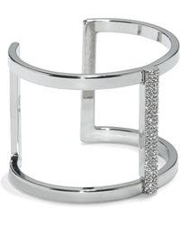 Vince Camuto - Silvertone Jewelled T-bar Cuff - Lyst
