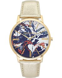 Vince Camuto - Abstract Floral-print Leather-band Watch - Lyst