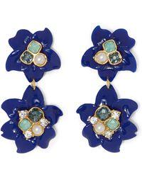 Vince Camuto - Blue Resin Double-flower Earrings - Lyst
