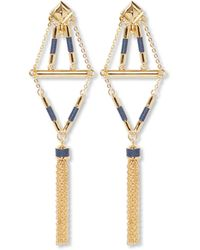 Vince Camuto - Statement Tassel Earrings With Leather Inlay (gold/eclipse Blue Leather) Earring - Lyst