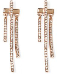 Vince Camuto - Rose Goldtone Pavé Drop-back Earrings - Lyst