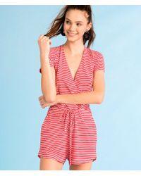 Vineyard Vines - Knit Red & White Stripe Crossover Romper - Lyst