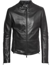 Emporio Armani | Band Collar Leather Jacket | Lyst