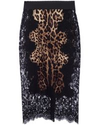 Dolce & Gabbana - Lace-trimmed Skirt - Lyst