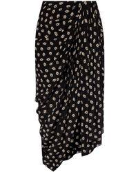 Isabel Marant Silk Skirt With Gathers - Black